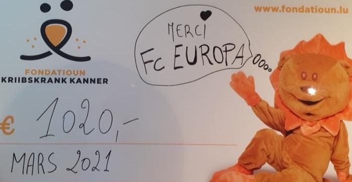 FC Europa soutient la Fondatioun Kriibskrank Kanner avec une donation de 1020.-€